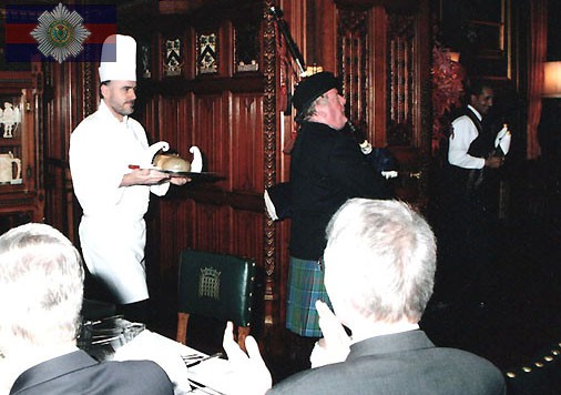 Piping in the haggis at the House of Commons.